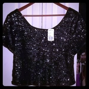 Sequined crop top
